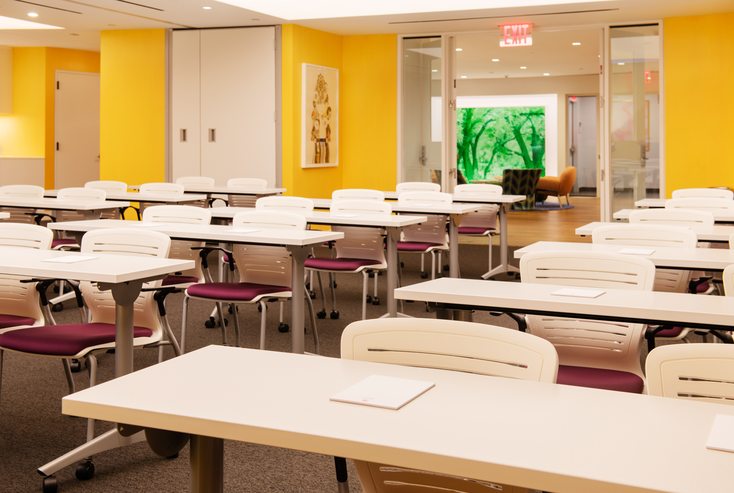 Meet on Madison Marigold Meeting Room Classroom Style with Art in Background
